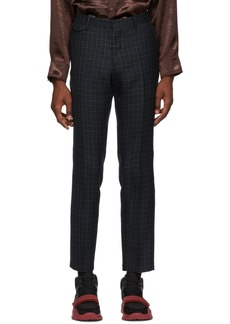 Burberry Navy Tartan Tailored Trousers