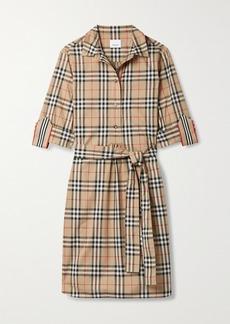 Burberry Net Sustain Belted Checked Cotton-blend Poplin Mini Shirt Dress