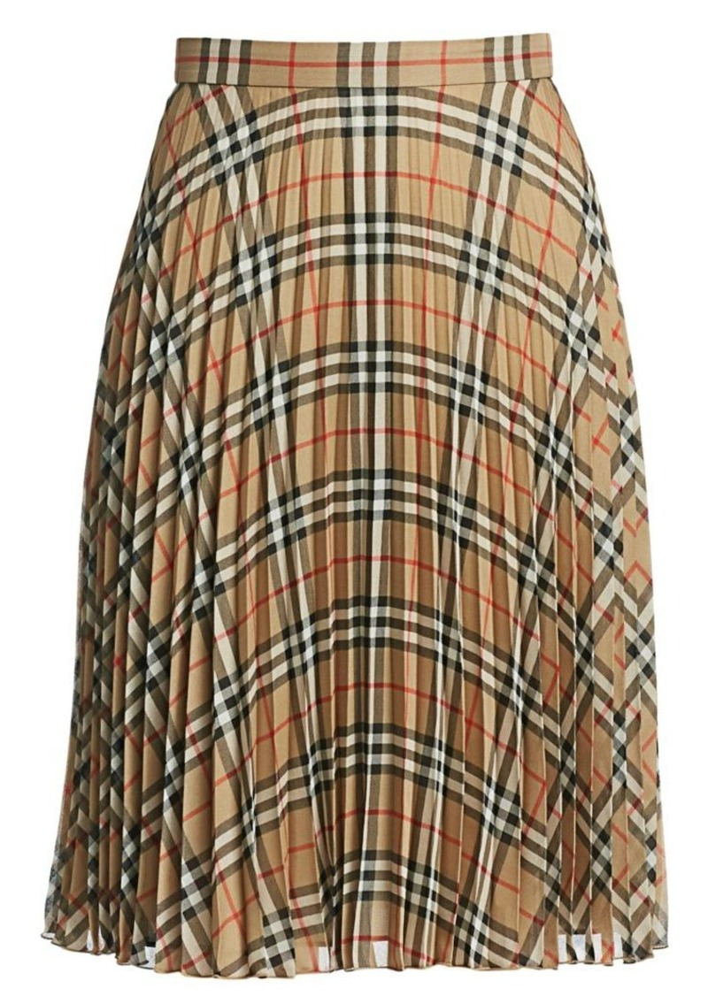 Burberry Nevern Check Print Pleat Skirt
