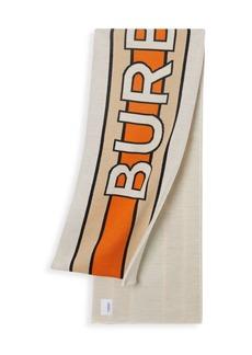 Burberry Olga Stretch Wool Logo Football Scarf
