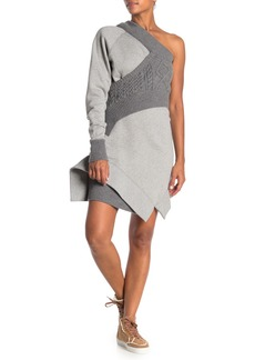 Burberry One-Shoulder Knit Overlay Sweater Dress