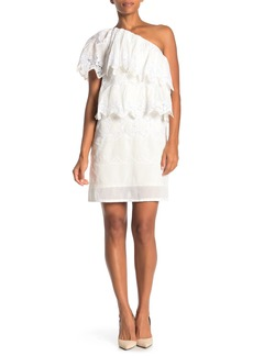 Burberry One-Shoulder Tiered Lace Dress