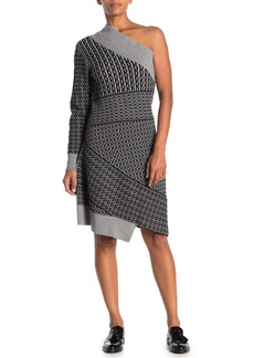 Burberry One-Shoulder Wool Blend Knit Jacquard Dress