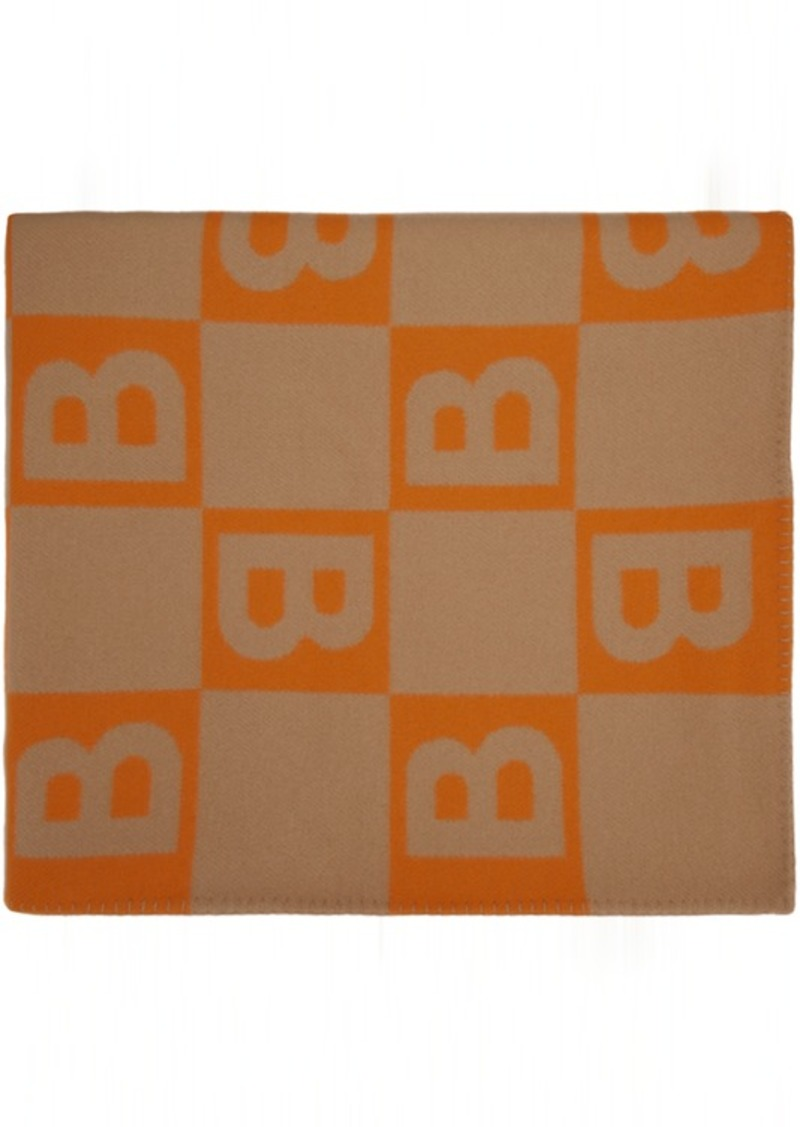 Burberry Orange Logo Blanket Scarf