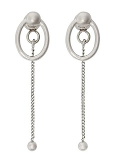 Burberry Oval and Charm Palladium-plated Drop Earrings
