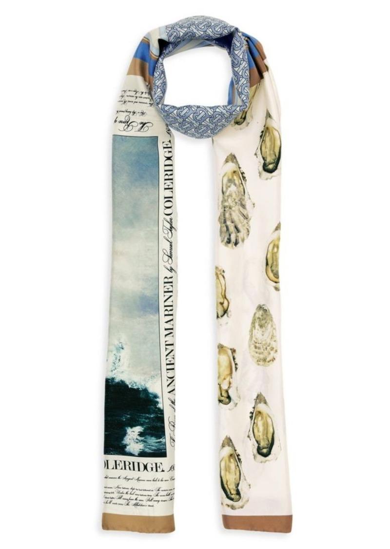 Burberry Oyster, Monogram & Mariner-Print Silk Scarf