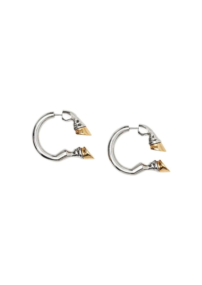 Burberry Palladium and Gold-plated Hoof Open-hoop Earrings