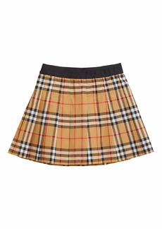Burberry Pansie Pleated Check Skirt