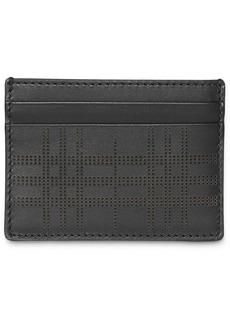 Burberry Perforated Check Leather Card Case