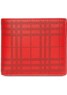 Burberry Perforated Check Leather International Bifold Wallet