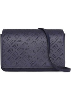 Burberry Perforated Logo Leather Wallet with Detachable Strap