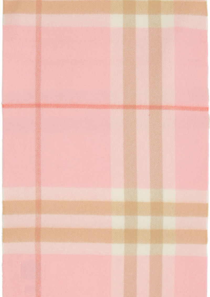 Burberry Pink Cashmere Giant Check Scarf