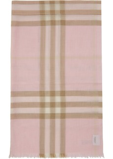 Burberry Pink Gauze Giant Check Scarf