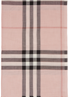 Burberry Pink Wool & Silk Lightweight Check Scarf