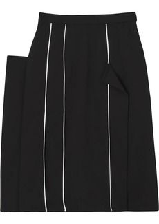 Burberry Piping Detail Stretch Wool Crepe Skirt