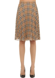 Burberry Pleated Check Techno Midi Skirt