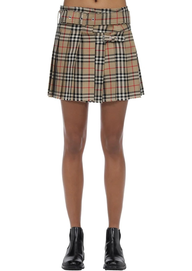 Burberry Pleated Check Wool Mini Skirt