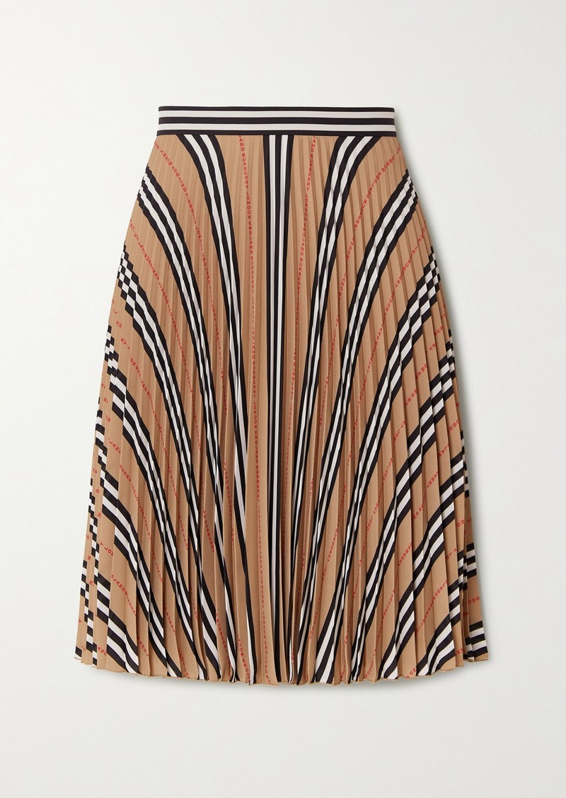 Burberry Pleated Printed Crepe Skirt