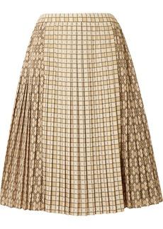 Burberry Pleated Printed Satin Midi Skirt