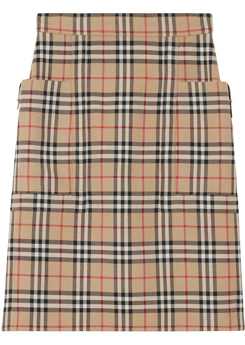 Burberry pocket detail vintage check pencil skirt