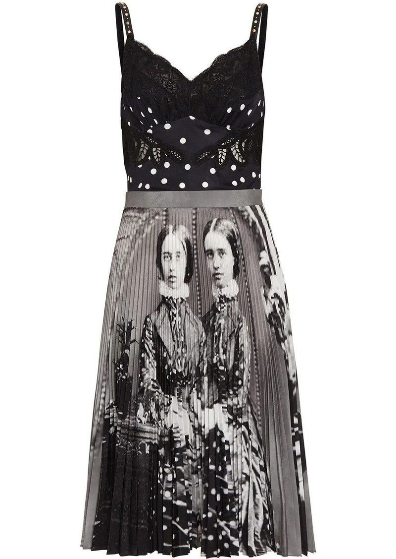 Burberry Polka Dot and Victorian Portrait Print Dress