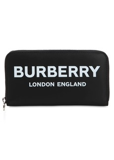 Burberry Printed Leather Zip Around Wallet