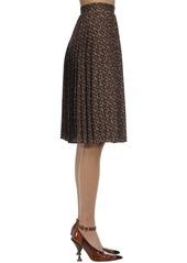 Burberry Mulberry Logo Print Pleated Skirt