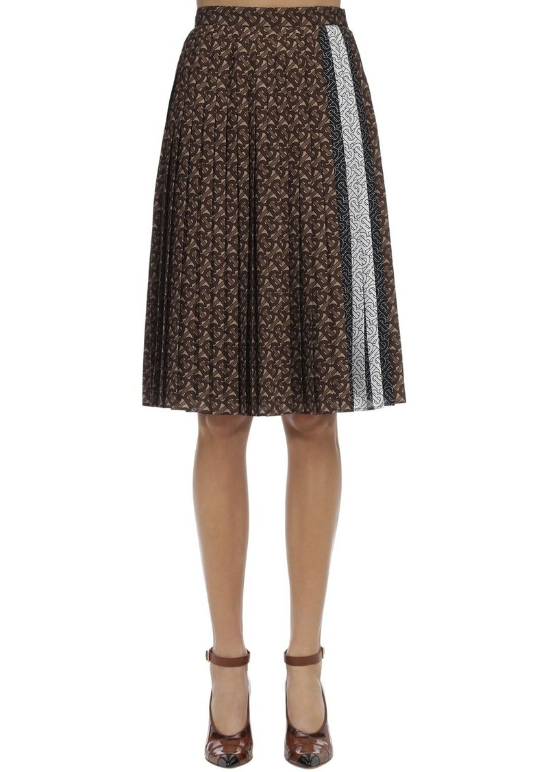 Burberry Mulberry Logo Print Pleated Skirt