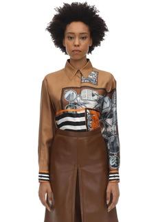Burberry Printed Silk Satin Shirt
