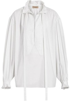 Burberry Puff-sleeve Cotton Tie-neck Blouse