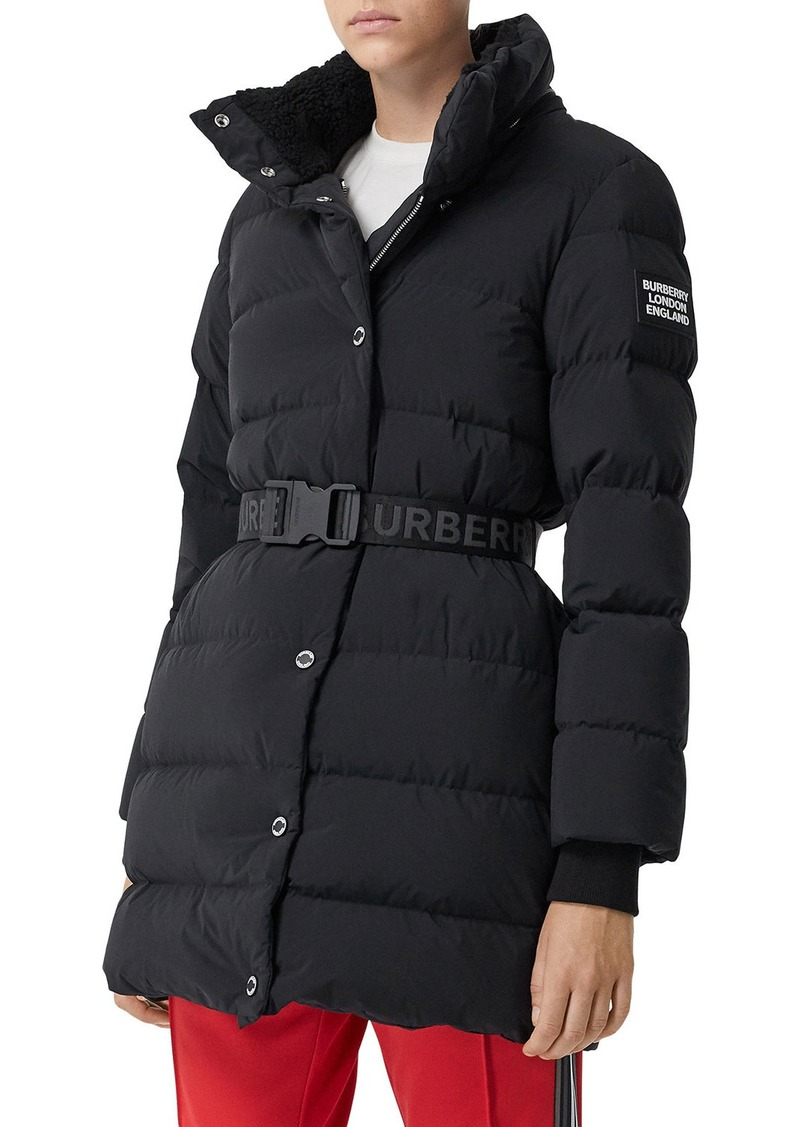 Burberry Eppingham Quilted Short Coat w/ Logo Belt