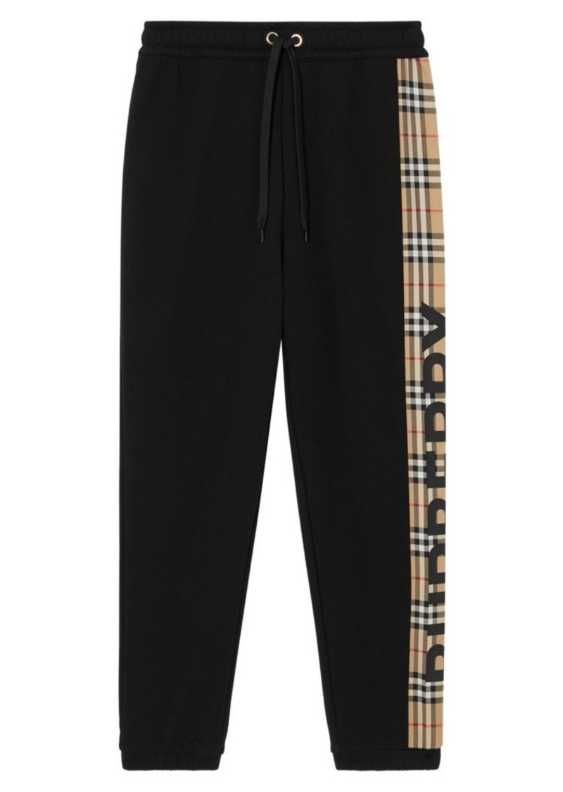 Burberry Rain Check Logo Trim Sweatpants