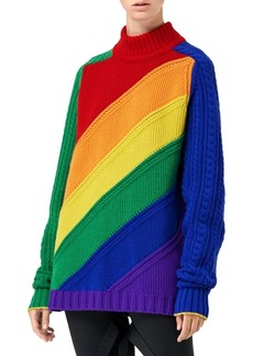 Burberry Rainbow Wool & Cashmere Turtleneck Sweater