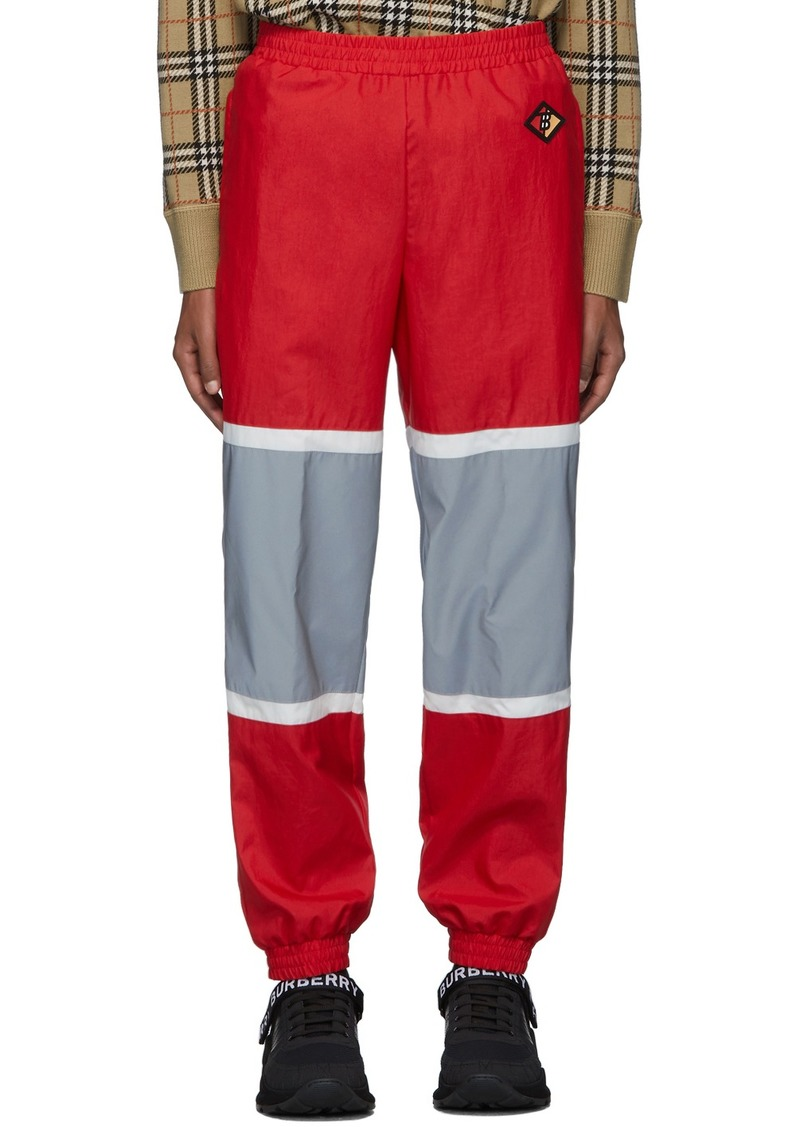 Burberry Red & Silver Bi-Color Track Pants