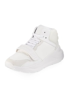Burberry Regis Leather/Suede High-Top Sneakers