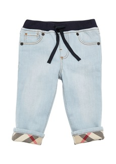 Burberry Relaxed Denim Jeans w/ Check Cuffs