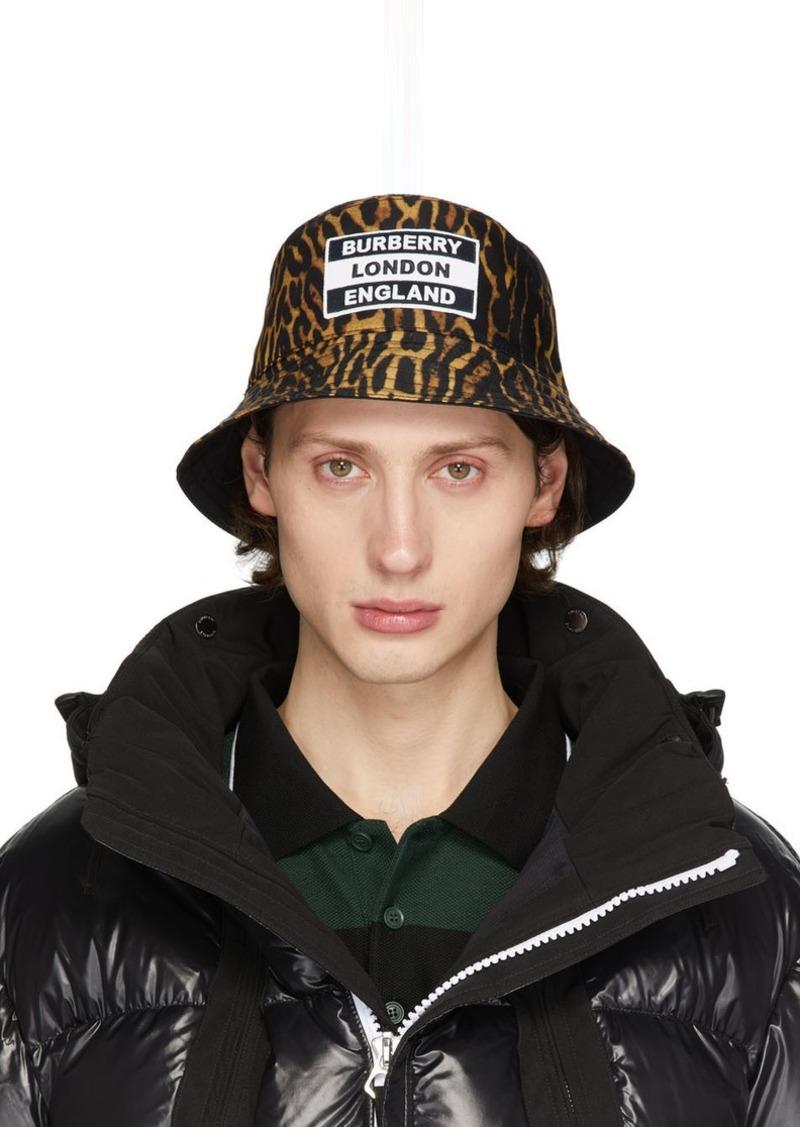 Burberry Reversible Black & Tan Leopard Print Bucket Hat