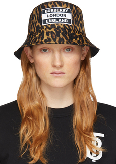 Burberry Reversible Black & Tan Leopard Print Bucket Hat