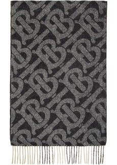 Burberry Reversible Black Cashmere Mega Check & Monogram Scarf