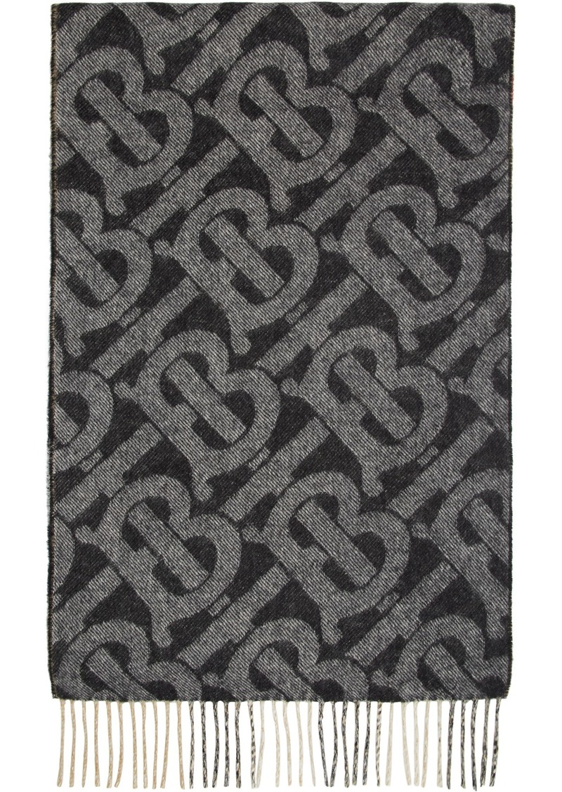 Burberry Reversible Black Cashmere Mega Check & Monogram Scarf