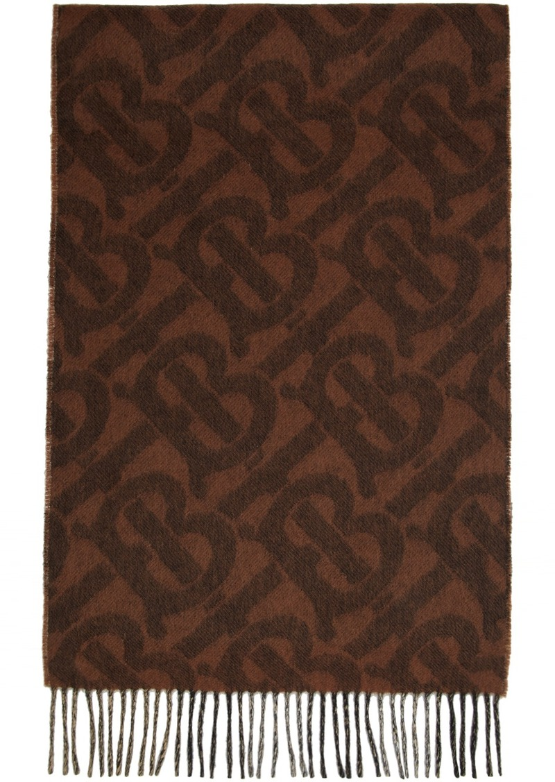 Burberry Reversible Brown Cashmere Mega Check & Monogram Scarf