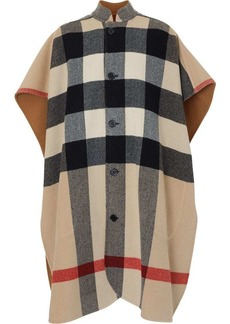 Burberry Reversible Check Wool Blend Poncho