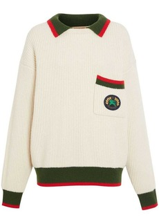 Burberry Olivine contrasting collar knitted jumper
