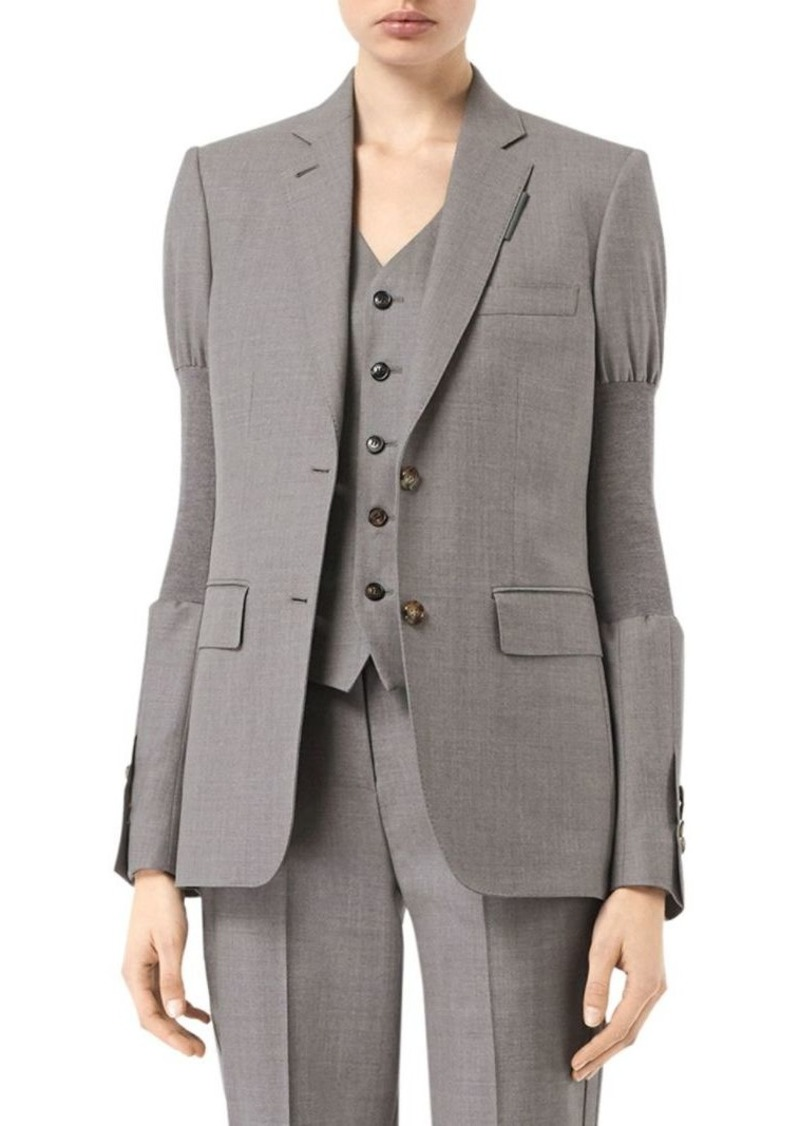 Burberry Ribbed Arm-Band Wool Jacket