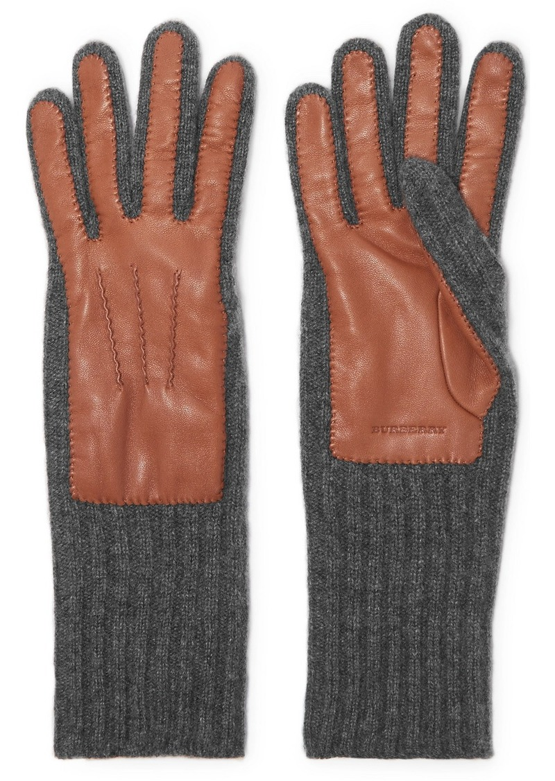 Burberry Ribbed Cashmere And Leather Gloves