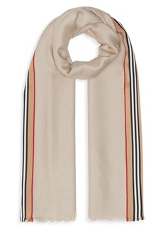 Burberry Ribbon Heritage Stripe Cashmere & Silk Scarf