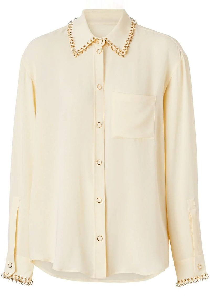 Burberry ring-pierced silk oversized shirt
