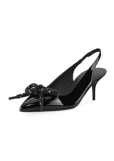 Burberry Rope-Bow Slingback Patent Pumps