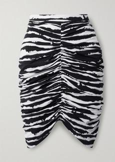 Burberry Ruched Zebra-print Stretch-cotton Mini Skirt