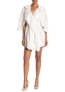 Burberry Ruffle Lace Mini Wrap Dress